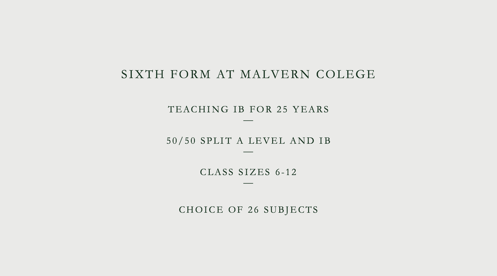 Sixth Form at Malvern College